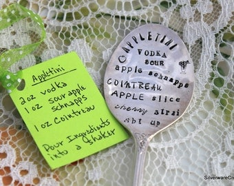 Vintage Silverware Spoon Hand Stamped - APPLETINI RECIPE - Keepsake Gift - Ready To Ship - Subway Art