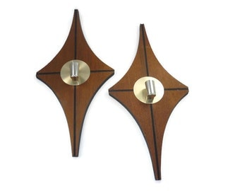 Mid Century Modern Wall Sconces or Candle Holders Pair