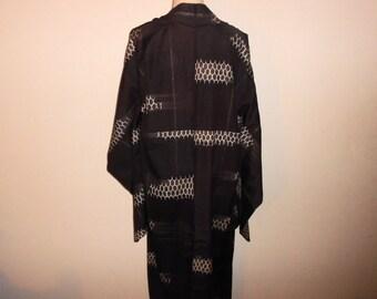 Antique kimono - Chocolate brown, Geometric, Unlined