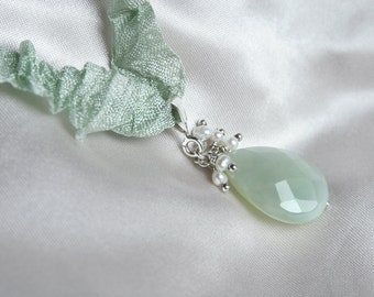 Pale mint Jade pendant with ivory Pearls, on ribbon