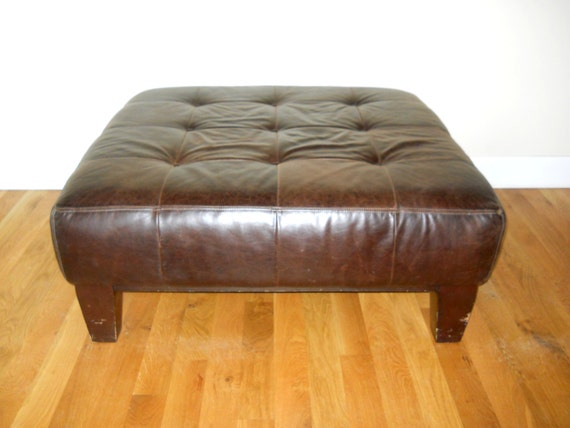 Espresso Brown Tufted Leather Large Ottoman Pottery Barn 1990s