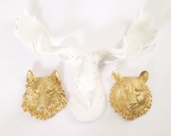 ANY SOLID COLOR Set: 1 Faux Moose Head & 2 small faux animal head wall mount wall hanging // Choose your colors // Choose small animal heads