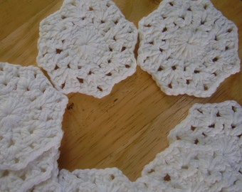 10  White Snowflake Facial Scrubbies, 100% Cotton, Eco-Friendly, Crochet
