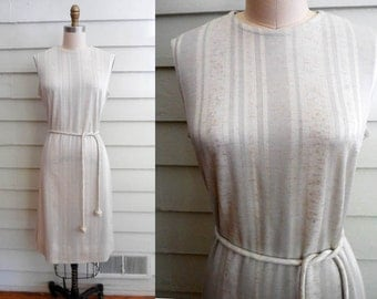 1970s silvery gray shift dress with stripes and belt / Small to Medium vintage midi tank dress from Bleeker Street