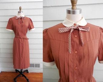 1960s orange brown shirtwaist dress / Large to Extra Large vintage day dress with peter pan collar, belt, striped tie