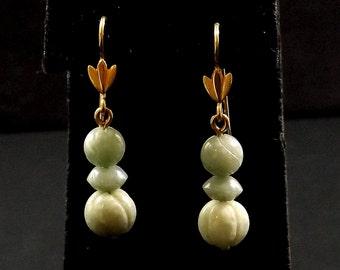 Jade Bead Dangle French Wire Earrings
