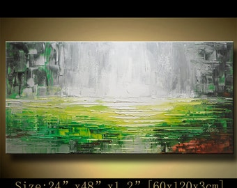 contemporary wall art,, Modern Textured Painting,Impasto  Landscape  Textured Modern Palette Knife Painting,Painting on Canvas by Chen hh55
