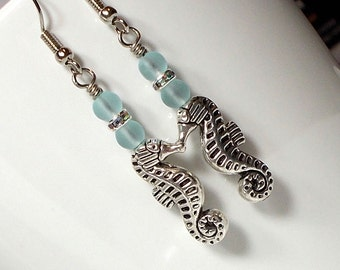 Seahorse Charm With Sea Glass Dangle Earring, Silver Seahorse Earring, Frosty Sea Glass Earring, Sealife Earring
