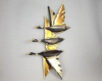 Mid Century Bird Metal Sculpture Brutalist Wall Hanging