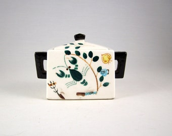 Vintage Ceramic Sugar Dish Hand Painted Lobster