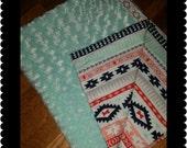 Minky Baby Blanket Aztec baby blanket coral mint blanket stroller blanket carseat blanket
