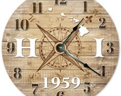 HAWAII CLOCK Established in 1959 Compass Map Clock - Large 10.5 inch Clock - Wall Clocks Round Circle Clock Rustic State Clock - HI State
