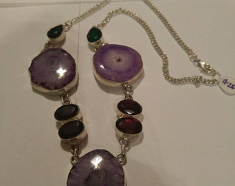 Druzy and red topaz statement necklace