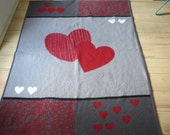 Retro vintage 1970s German acrylic blanket dralon blanket super heart shape vintage blanket