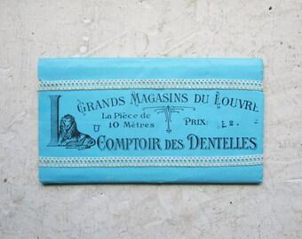 "Antique french lace never used, LOUVRE PARIS, Crochet, Dentelle ancienne, White cotton, 1920, Wedding, 39.4"""