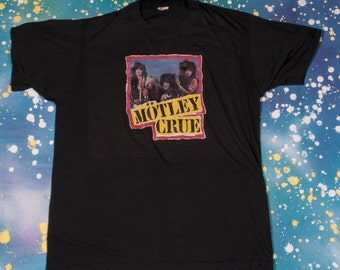 1980s Motley CRUE Iron-On with Heavy METAL RULES T-Shirt Men's Size L