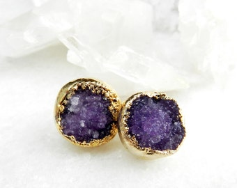 druzy earrings, druzy stud earrings, druzy studs, gold earrings, gold studs, purple druzy, amethyst, february birthstone