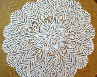 Handmade White Round Crochet Doily: Zebra Plant
