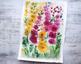 Mallow flowers original botanical watercolor painting 10x14' kitchen decor nursery decor summer