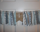 Baby Boy Blue and Gray First Birthday High Chair Cake Smash Burlap Banner - Rag Tie Fabric Party Decoration, Photo
