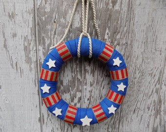 Patriotic Red White and Blue Wreath, Nautical Wreath, Fourth of July Wreath, Stars and Stripes décor, American Wreath, Veteran's Day Wreath