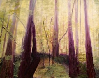 Large Landscape Painting Forest, Green Trees, Purple Trees, Woodland, woods