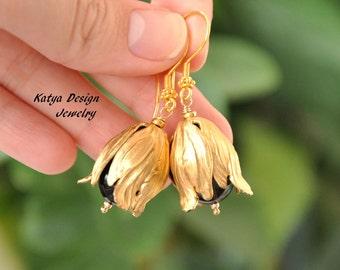 Earrings vintage, gold earrings, earrings flowers, earrings cmoky quartz, earrings stone