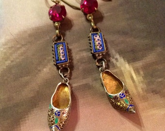 Deco Bohemian Earrings Vintage Micro Mosaic Damascene Enamel Shoe Slipper Dangles