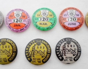 Vintage A.F. Of L Pin Back Buttons, Union Pin Back Buttons, Tin, 1949-1951,  St Paul Mn, #120, Pins, Advertising, Union Worker, Collectible