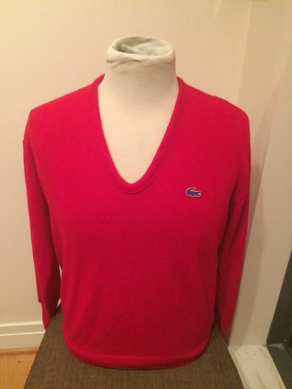 izod lacoste red pullover v neck sweater. Black Bedroom Furniture Sets. Home Design Ideas