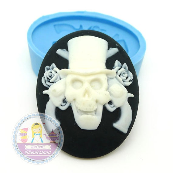 Skull Skeleton Cameo 40x30mm Silicone Bakery Push Flexible Mold 273L BEST QUALITY