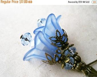 Blue Flower Earrings. Lucite Flower Earrings. Blue Bridesmaid Earrings Winter Wedding Jewelry. Antique Bronze Sapphire Crystal Blue Earrings
