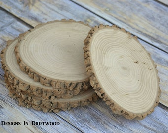 50 Large Rustic Hardwood Slices -Approx. 4 Inch Perfect for Rustic Events Anniversary Birthday Parties Housewarming Name tags Invitations