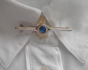 September Birthday Gift, Vintage Sapphire Gemstone Sterling Silver Brooch Tie Pin