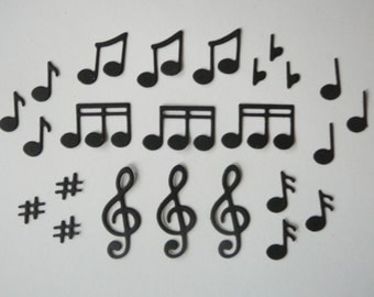 24pc. Music Note Die Cut Embellishment Set for Scrapbooking & Card Making Confetti Party Table Decorations