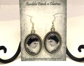 Coco Chanel Earrings, Dangle Earrings, Picture Charm Earrings, Coco Chanel Photo Earrings