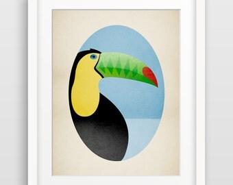 Jungle Nursery Art Print, Toucan Print, Nursery Bird Art, Alphabet Art, Zoo Animal Nursery, Whimsical Bird Art