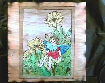 Art Pyrography-Fairies- Handcrafted-Wood Burnt Wall Plaque Signed