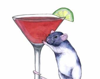 Watercolor Art Print Cosmo Art Print Rat Lover Gift Cosmopolitan Cocktail Art Print Liquor Art Print Pet Rat Art Print Whimsical Animal Art