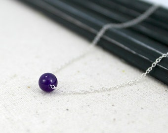 Semi-Precious Amethyst and Sterling Silver Necklace / Simple Birthstone Jewelry / Threaded Necklace / February Birthstone / N29