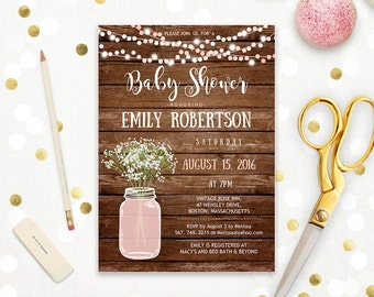 Rustic Baby Shower Invitation Printable Girl Pink Blush Mason Jar Baby Shower Baby's Breath Country baby shower digital Instant DOWNLOAD PDF