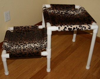 2 Tier Animal Print Pet Bed - Faux Fur - Leopard