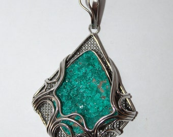 Dioptase Pendant, Dioptase necklace, Russian jewelry,   WORLDWIDE FREE SHIPPING