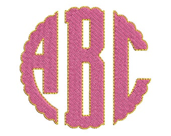 Scallop Circle Monogram Embroidery Font - INSTANT DOWNLOAD