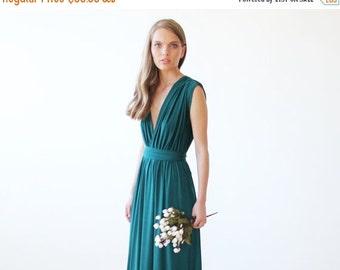 Emerald green maxi short sleeves dress, Formal green maxi gown