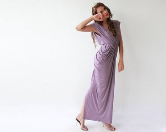 Purple maxi bridesmaids gown, Short sleeves lavender dress 1008