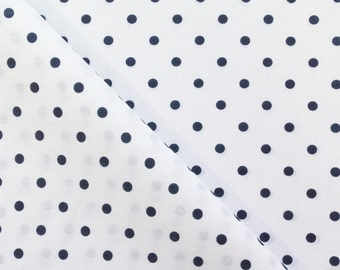100% Cotton Print Polka Dot Small Dots  45 inch Navy on White Fabric by the Yard, 1 Yard
