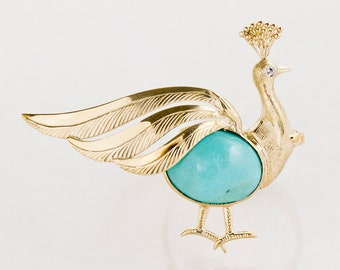 Vintage Ring - Vintage 1960's 18k Yellow Gold Peacock Turquoise & Diamond Conversion Ring
