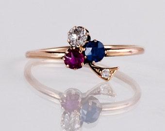 Antique Ring - Antique 15K Rose Gold Victorian Clover Ring