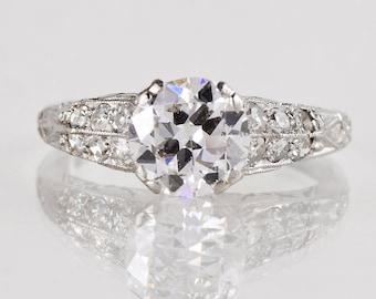 Antique Engagement Ring - Antique 1920's Platinum Diamond Filigree Engagement Ring